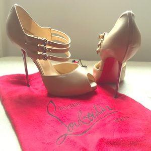 Christian Louboutin tan heels